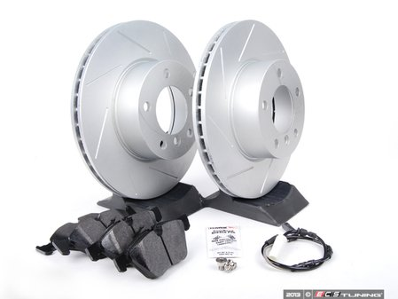 ES#2649804 - 6854998SLGMT-KT - Performance Front Brake Service Kit - Featuring ECS GEOMET slotted rotors and Hawk HPS pads - Assembled By ECS - BMW