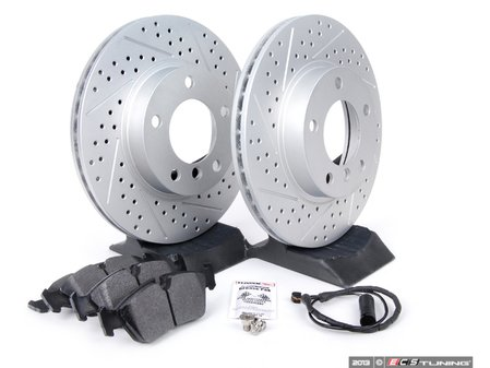 ES#2598581 - E36RPS5-KT - Performance Front Brake Service Kit - Featuring ECS GEOMET cross drilled and slotted rotors and Hawk HPS pads - Assembled By ECS - BMW