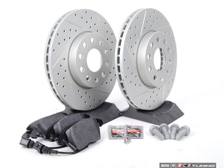 ES#2582048 - D1107MTXKT3 - Performance Front Brake Service Kit (288x25) - Featuring ECS GEOMET cross drilled & slotted rotors and Hawk HPS pads - Assembled By ECS - Volkswagen