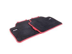 ES#2537481 - 51472293359 - Sport Line Rear Carpeted Floor Mat Set - Schwarz/Black With Red Accent - Genuine BMW - BMW