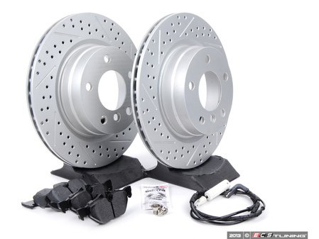 ES#2642895 - 34356789445CDKT - Performance Rear Brake Service Kit - Featuring ECS GEOMET cross drilled and slotted rotors and Hawk HPS pads - Assembled By ECS - BMW