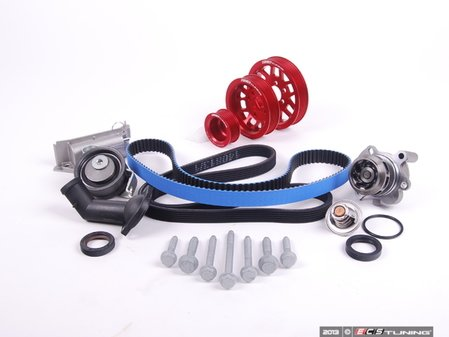 ES#5140 - 06B198479V2UDRED - Timing Belt Kit - Ultimate With Gates Racing Timing Belt & Performance Pulley Set - Includes ECS Tuning's Lightweight Underdrive Pulley Kit in Red. - Assembled By ECS - Audi Volkswagen