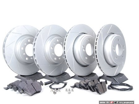 ES#2598536 - E46M3FRBRK-KT3 - Performance Front & Rear Brake Service Kit - Featuring ECS GEOMET slotted rotors and Hawk HPS pads - Assembled By ECS - BMW