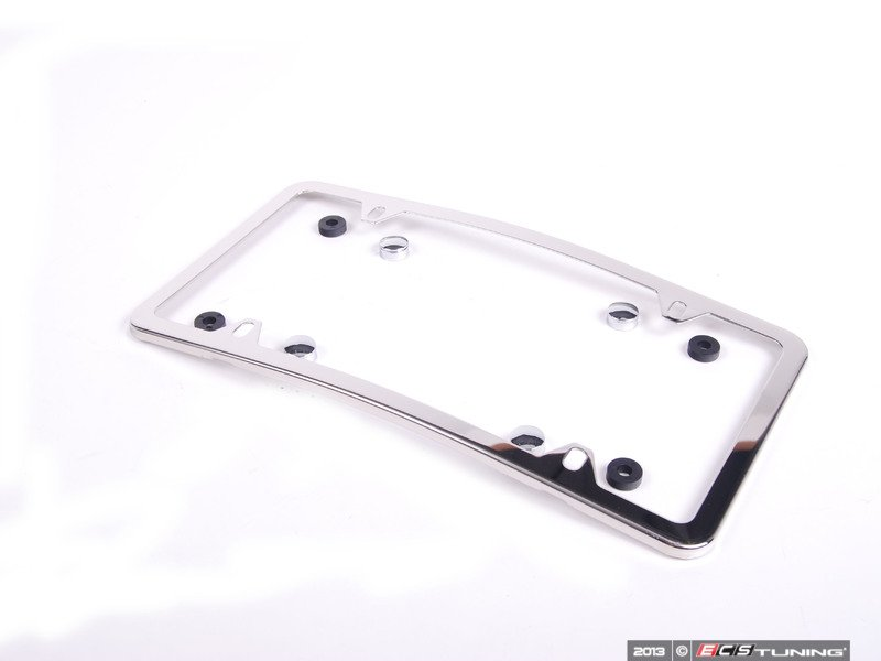 es1829266 q6880103 curved slimline front license plate frame polished stainless steel