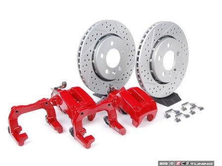 ES#3937 - 33720AERBKXR - 337/20th/GLI Rear Big Brake Kit - Cross Drilled & Slotted Rotors (256x22) - Red - Includes ECS GEOMET cross drilled & slotted rotors, carriers & calipers - Assembled By ECS - Volkswagen