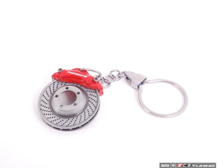 ES#2712795 - WAP0503020E - Brake System Motif Keyring - Porsche's famous red caliper on a cross drilled and vented rotor - Genuine Porsche - Porsche