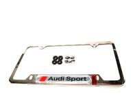 ES#473369 - ZAW355030 - Audi Sport License Plate Frame - Chrome - Chrome plate frame featuring the Audi Sport logo - Genuine Volkswagen Audi - Audi