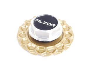 ES#2713109 - 010GOLDCC - Style 010 Gold Center Cap - Priced Each - Replacement center cap for one wheel - Alzor - Audi Volkswagen