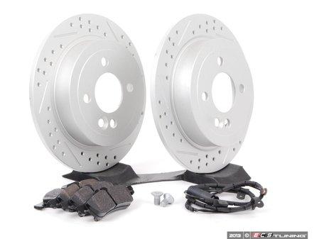 ES#2594719 - 342115030702XSKT - Performance Rear Brake Service Kit - Featuring ECS GEOMET Slotted/Drilled rotors and Hawk HPS pads - Assembled By ECS - MINI