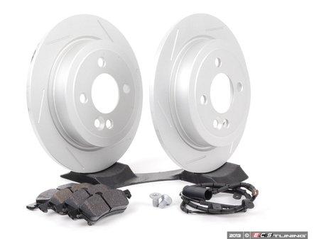 ES#2597979 - 342115030702SLKT - Performance Rear Brake Service Kit - Featuring ECS GEOMET Slotted rotors and Hawk HPS pads - Assembled By ECS - MINI