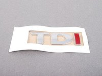 ES#3422 - 3B0853675ABGQF - TDI Emblem - Chrome / Chrome / Red stick on emblem - Genuine Volkswagen Audi - Volkswagen