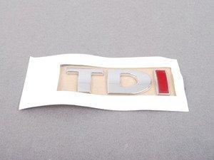 "ES#3422 - 3B0853675ABGQF - ""TDI"" Emblem - Chrome / Chrome / Red stick on emblem - Genuine Volkswagen Audi - Volkswagen"