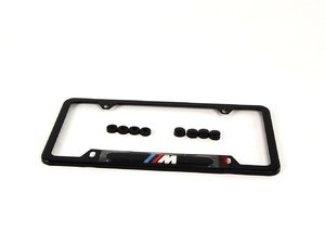 "ES#196057 - 82120010404 - ""///M"" License Plate Frame - Black - Black stainless finish with the ///M logo - Genuine BMW - BMW"