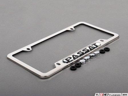 ES#474130 - ZVW355010 - Passat License Plate Frame - Stainless steel plate frame featuring the Passat script - Genuine Volkswagen Audi - Volkswagen