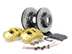ES#2718314 - 34110444738KT - Front 6-Piston Big Brake Kit (338x26mm) - Upgrade to ECS 2-piece rotors and 6-piston calipers with Hawk HPS performance brake pads. Complete with brake fluid and ECS Exact-Fit front brake lines! Everything you need to bolt on and go. - ECS - BMW