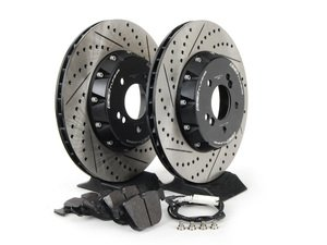 ES#2712822 - 001004ECS02AKT2 - Performance Rear Brake Service Kit - Featuring ECS 2-piece semi-floating cross drilled and slotted rotors and Hawk HPS pads - Assembled By ECS - BMW