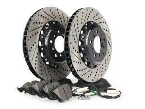 ES#2712821 - 001004ECS01AKT3 - Performance Front Brake Service Kit - Featuring ECS 2-piece semi-floating cross drilled and slotted rotors and Hawk HPS pads - Assembled By ECS - BMW