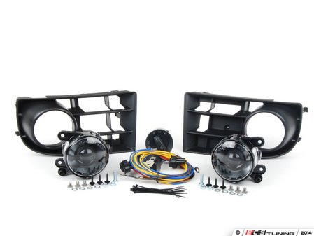 ES#2718440 - 1K0998027 - Projector Fog Light Conversion Kit - With 3 Bar Grille - Complete kit to install European projector fog lights - includes bulbs and headlight switch - Assembled By ECS - Volkswagen