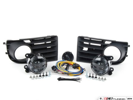 ES#2718439 - 1K0998026 - Projector Fog Light Conversion Kit - With 5 Bar Grille - Complete kit to install European projector fog lights - includes bulbs and headlight switch - Assembled By ECS - Volkswagen