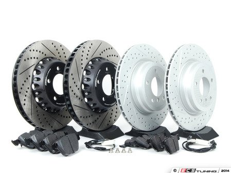 ES#2717947 - 003294ECS01KT1 - Performance Front & Rear Brake Service Kit - Featuring front ECS 2-piece semi-floating cross drilled and slotted rotors, rear ECS GEOMET cross drilled and slotted rotors and Hawk HPS pads - Assembled By ECS - BMW