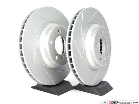 ES#2190266 - 6770729SLGMTLRA - Front Slotted Brake Rotors - Pair (348x30) - Featuring GEOMET protective coating offering superior rust protection for long lasting, great looking rotors. - ECS - BMW