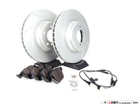 ES#2594680 - 34356789440SLKT - Performance Front Brake Service Kit - Featuring ECS GEOMET slotted rotors and Hawk HPS pads - Assembled By ECS - BMW