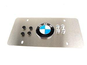 "ES#196144 - 82121470312 - ""BMW"" Vanity Plate - Satin Silver Aluminum - Satin silver aluminum plate with BMW roundel emblem - Genuine BMW - BMW"