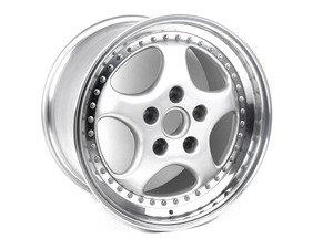 """ES#1466615 - 96536214000 - Rear 3-Piece Cup Design 92 Wheel - Priced Each - Silver Metallic center with polished rim flange - 18"""" X 10"""", 61 offest - Genuine Porsche - Porsche"""