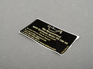 ES#514814 - 01000419179 - Oil Label  - Located in multiple locations in the engine bay - Genuine MINI - MINI