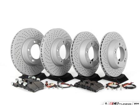 ES#2594724 - 98661236500PERKT - Performance Front & Rear Brake Service Kit - Featuring Zimmerman Z-Coated rotors and Hawk HPS brake pads - Assembled By ECS - Porsche