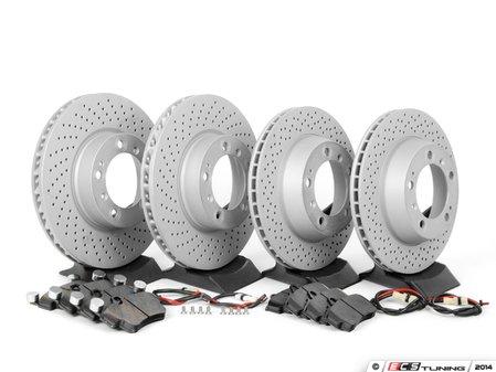 ES#2594740 - 98735240301PERKT - Performance Front & Rear Brake Service Kit - Featuring Zimmerman Z-Coated rotors and Hawk HPS brake pads - Assembled By ECS - Porsche