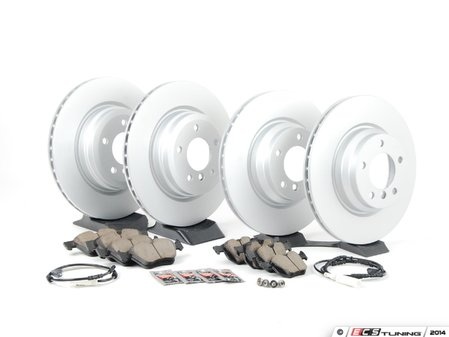 ES#2618759 - 34356789440KT5 - Front & Rear Brake Service Kit - Featuring original equipment Zimmermann coated rotors and Akebono Ceramic pads - Assembled By ECS - BMW