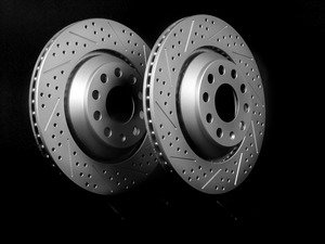 ES#2189770 - 1K0615601NKT3 - Rear Cross Drilled & Slotted Brake Rotors - Pair (310x22) - Featuring GEOMET protective coating. - ECS - Audi Volkswagen
