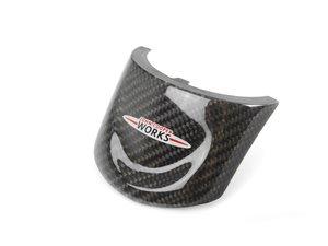 ES#250374 - 32302147228 - Carbon Fiber JCW Cover For Sport Wheel - Newer style lower center CF JCW logo for the sport steering wheel - Genuine MINI - MINI