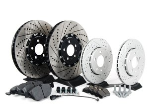 ES#2721239 - 001423ECS01AKT1 - Performance Front And Rear Brake Service Kit (334x32/256x22) - Featuring front ECS 2-piece semi-floating cross drilled and slotted rotors, rear ECS GEOMET cross drilled and slotted rotors and Hawk HPS pads - Assembled By ECS - Volkswagen