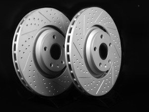 ES#2500853 - 8J0301GXSGMTLRA - Front Dimpled And Slotted Brake Rotors - Pair (340x30) - Featuring GEOMET protective coating. - ECS - Audi Volkswagen