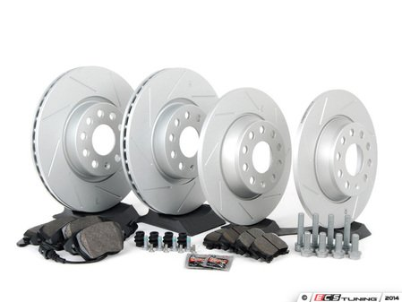 ES#2996284 - 1K0615601MKT11 - Performance Front & Rear Brake Service Kit (312x25/282x12) - Featuring ECS GEOMET slotted rotors and Hawk HPS pads. - Assembled By ECS - Volkswagen