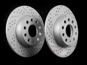 ES#2702508 - 1K0698601AA -  Rear Cross Drilled & Slotted Brake Rotors - Pair (272x10) - Featuring GEOMET protective coating. - ECS - Audi Volkswagen