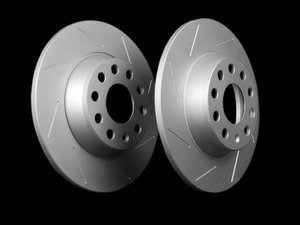 ES#2167543 - 1K0615601ADKT5 -  Rear Slotted Brake Rotors - Pair (282x12) - Featuring GEOMET protective coating. - ECS - Audi Volkswagen