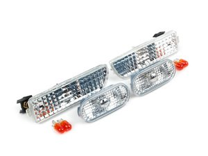 ES#2528675 - 1J0998001KT - Rough Style Side Marker Set - Clear - Bumper and fender mounted clear side markers with amber bulbs - ECS - Volkswagen