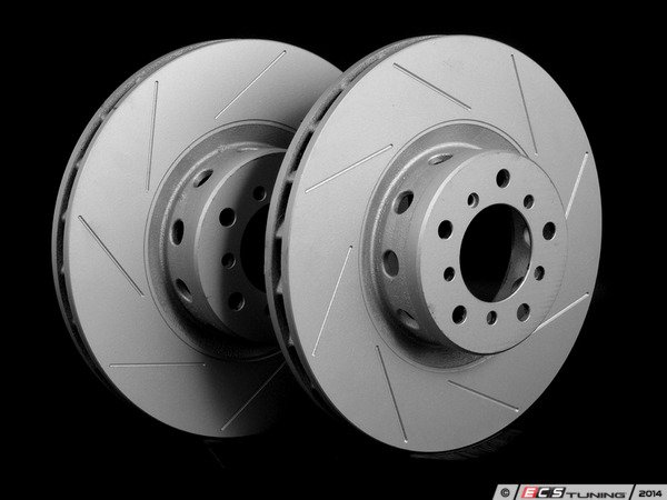 ES#2192992 - 2229527SLGMTLRA - Front Slotted Brake Rotors - Pair (345x32) - Featuring GEOMET protective coating offering superior rust protection for long lasting, great looking rotors. - ECS - BMW