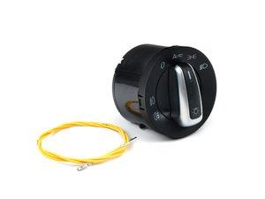 ES#2597833 - 5ND941431BKT - Automatic European Headlight Switch - Brushed Trim - Controls headlights, parking lights, front fog lights, and rear fog lights - Bremmen Parts - Volkswagen