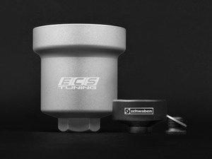 ES#2608273 - 06D115408AKT -  Billet Aluminum Oil Filter Housing With Removal Tool - Silver Anodized - Aluminum replacement for plastic OE filter housing with 36mm socket - Assembled By ECS - Audi Volkswagen