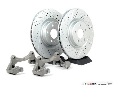 ES#2215370 - 8K06983BBK - Front Big Brake Kit - Stage 1 - Cross Drilled & Slotted Rotors (345x30) - Upgrade to the stopping power of the Audi S4/5. Features ECS GEOMET brake rotors. - Assembled By ECS - Audi