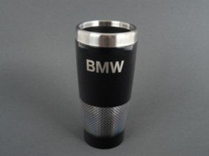 ES#256707 - 80902149943 - BMW Carbon Effect Travel Mug - Black with a silver carbon ring - Genuine BMW - BMW