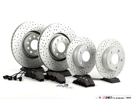ES#2681035 - 8E0301ADXGMKT - Front & Rear Performance Brake Service Kit - Featuring ECS GEOMET Drilled & Slotted rotors and Hawk HPS pads - Assembled By ECS - Audi