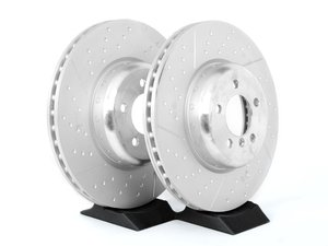ES#2568621 - 34106797603kt - Front Brake Rotors - Pair - Performance braking option from the factory, cross drilled & slotted brake rotors (370x30). Bolted two-piece design. - Genuine BMW M Performance - BMW