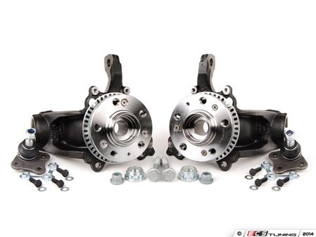 ES#3200067 - 1J0407255AHKT - VR6/1.8T Spindle Conversion Kit - Without Caliper Carriers - Required for brake upgrades on 2.0L and TDI models - Assembled By ECS - Volkswagen