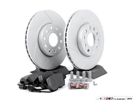 ES#2582051 - D1107MTXKT2 - Performance Front Brake Service Kit (288x25) - Featuring ECS GEOMET slotted rotors and Hawk HPS pads - Assembled By ECS - Volkswagen