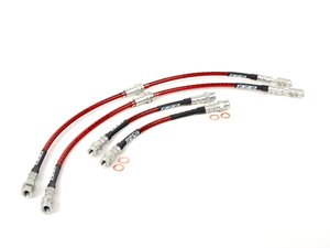 ES#5974 - 1KM698000 - Front & Rear Exact-Fit Stainless Steel Brake Lines - Kit - Complete set of DOT-compliant lines for an improved pedal feel - ECS - Audi Volkswagen